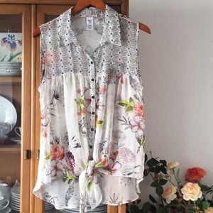 Language floral print silk blouse